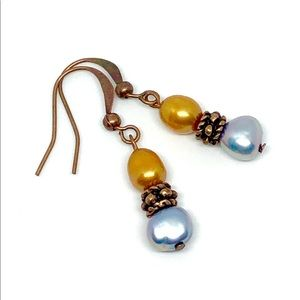 Gold Blue Freshwater Pearl Antique Copper Earrings